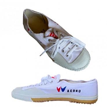 scarpe shaolin wacoku in tela bianca con lacci e suola in gomma frenata