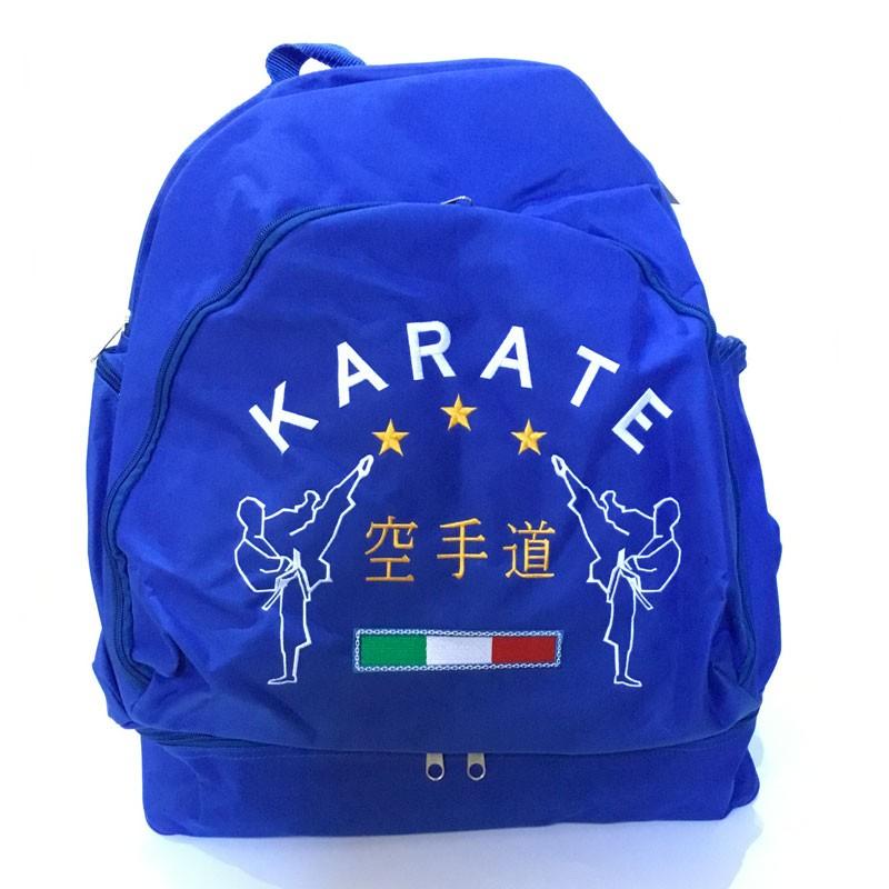 borsa zaino con tracolle e portascarpe con ricamo karate royal e nero