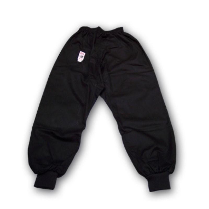 Pantaloni in cotone nero per kung fu elastico in vita e caviglia