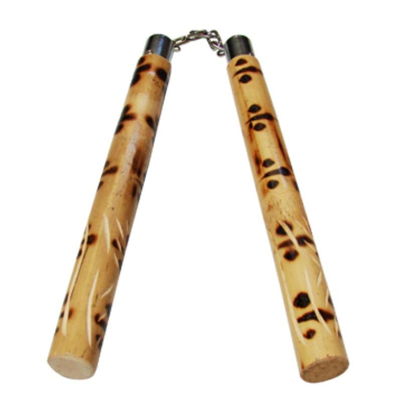 Nunchaku in rattan focato con catena