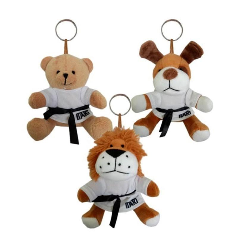 portachiavi peluche orso leone cane con cintura nera e kimono