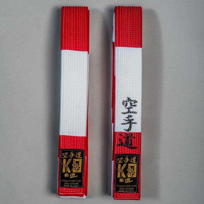 Cintura maestro in cotone bianco/rossa sesto 6°dan karate kobudo