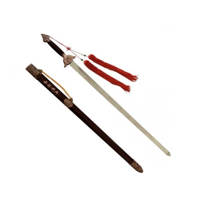 spada dritta flessibile doppio taglio e nappa decorativa per kung fu wushu