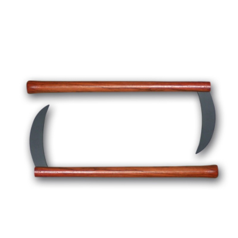 kama in metallo con manici in legno coppia