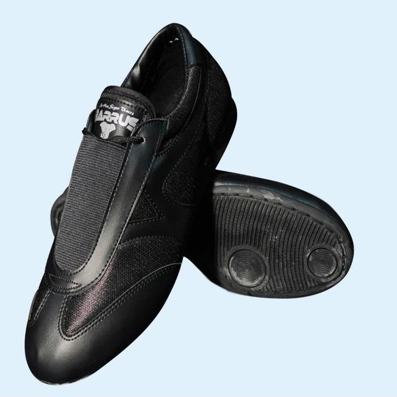 scarpe arti marziali nylon-pelle nero suola in gomma antiscivolo