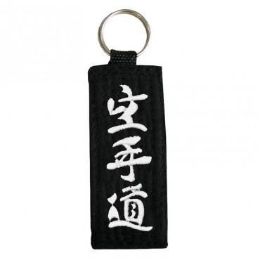 Portachiavi cintura nera con ricamo Karatedo