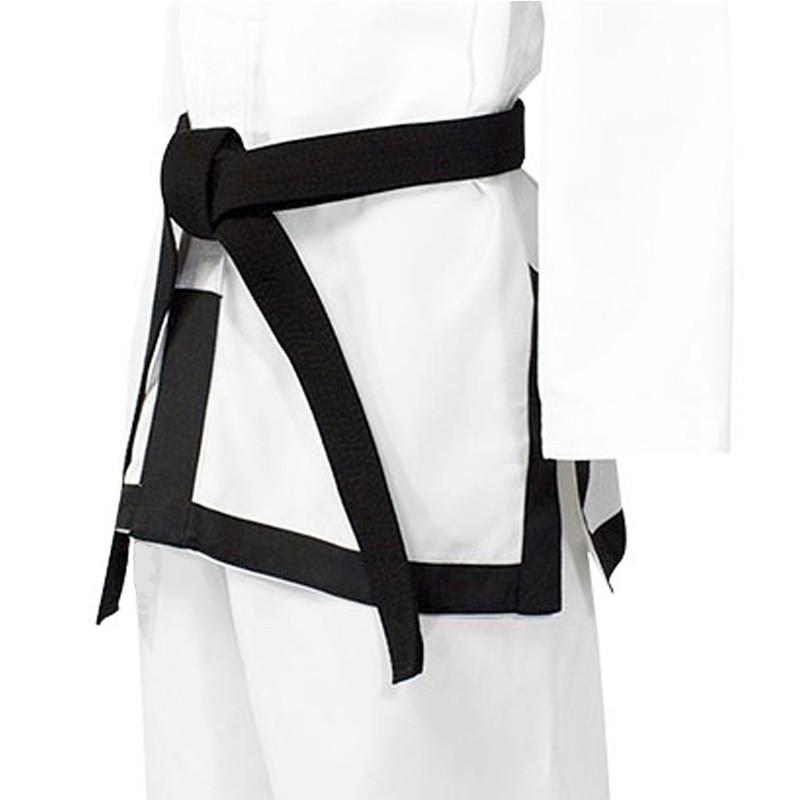 bordatura fondo giacca con fettuccia nera per dobok ITF