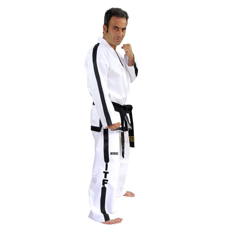 Bordatura completa gicca e pantalone per dobok ITF con fettuccia nera