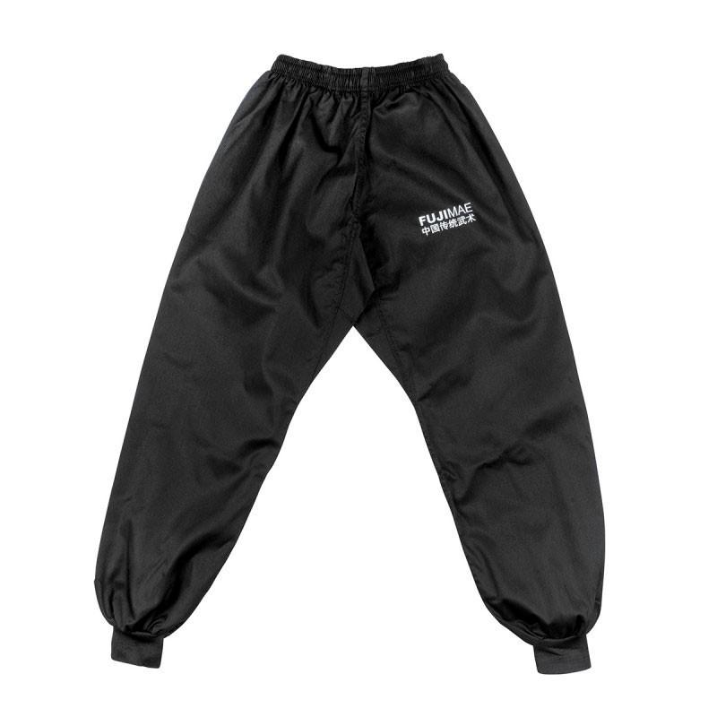 pantaloni kung fu cotone nero con elastico in vita e caviglia