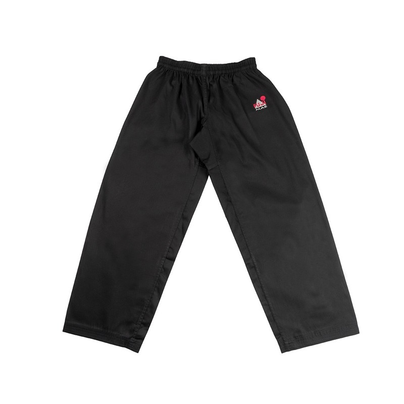Pantaloni per arti marziali in cotone nero con elastico in vita