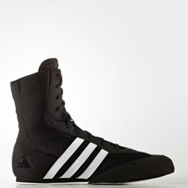 Scarpe da boxe pugilato alte con lacci colore nero con stisce bianche
