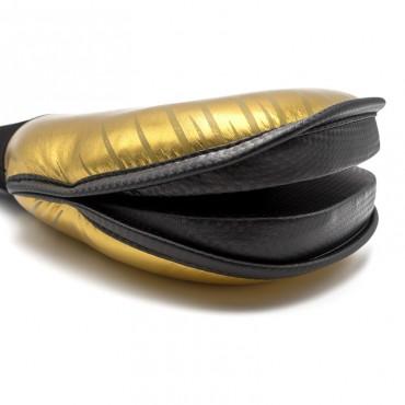 Colpitore da mano doppio leggero e flessibile fujimae rivestimento similpelle oro.