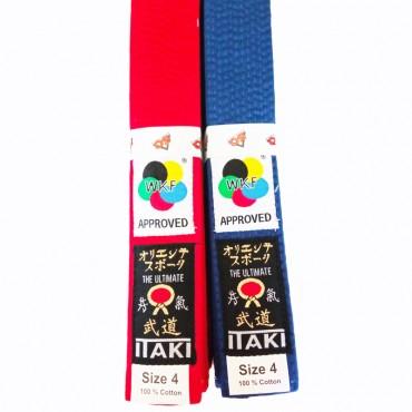 cintura Itaki omologata WKF rossa e blu