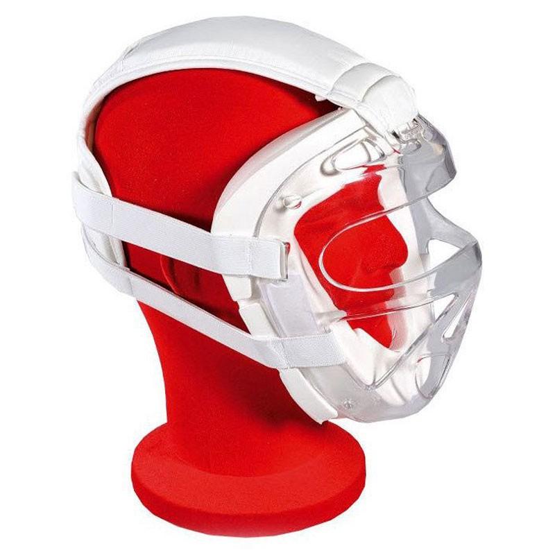 maschera facciale karate kumite omologata gare in PU bianco e grata in policarbonato