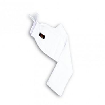 pantaloni cotone bianco elastico in vita