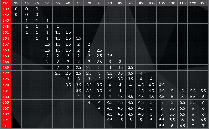 tabella misure Mizuno